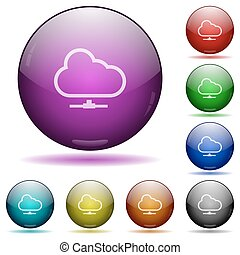 Cloud network glass sphere buttons