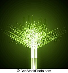 technology abstract lines tree form green version