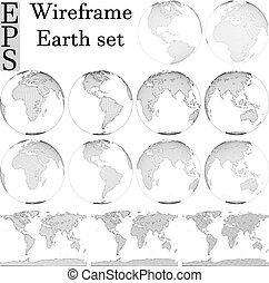 wireframe earth pack spherical, and open map view