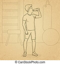 Man drinking water. - A sportive man drinking water in the...