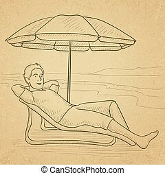 Man sitting in chaise longue.