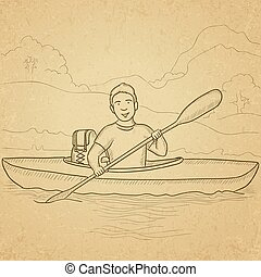 Man canoeing on the river. - A man canoeing on the river...