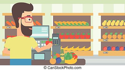 Cashier at supermarket checkout - A hipster cashier at...