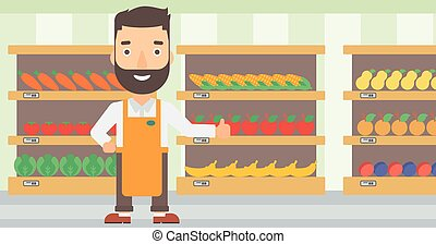 Friendly supermarket worker - A hipster man with the beard...