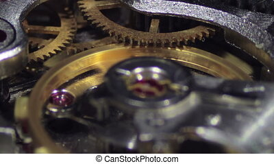 Clock Mechanism Works Macro. Old clock, vintage. Working...