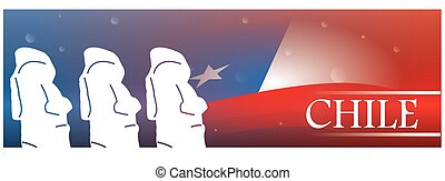 Country banner - Colored banner with text, the flag of chile...