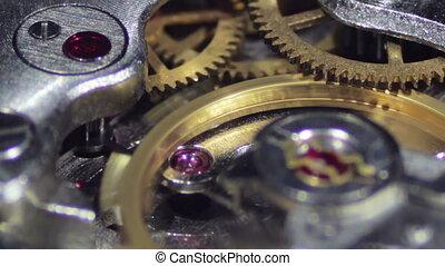 Clock Mechanism Works Macro. Old clock, vintage. Working...