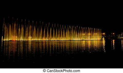 Colorful bright fountain with beautiful reflection - Amazing...