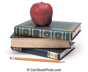 back to school - books, pencil apple on white