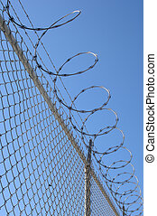 razor wire fence - chain link fence with barbed wire against...
