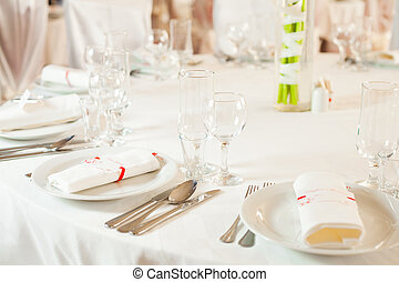White wedding table set - White beautiful table set for a...