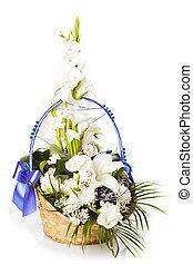 Ikebana, aislado, en, blanco,
