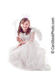 Fairy girl isolated - Girl like a little fairy isolated on...