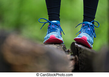 Adventure, sport and exercise detail. Sport shoes. -...