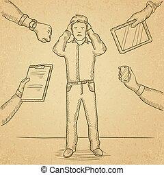 Desperate man clutching his head. - A man in despair...
