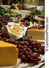 cheese and grapes - Cheese, grapes, crackers, vegetables