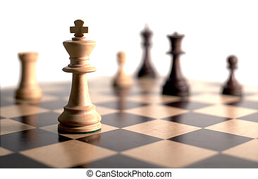 chess game - chess pieces on board - white background