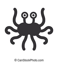 Flying spaghetti monster, atheism symbol. Black minimalistic...