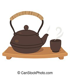 Japanese tea set, tea pot and cup on wooden board. Tea...