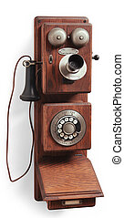 old wood country telephone on white - antique crank rotary...
