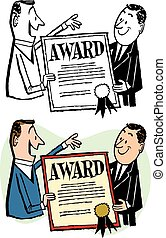Man Receiving Award - A man receives an award certificate...