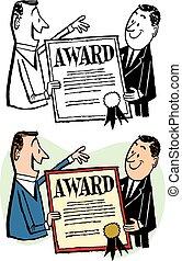 Man Receiving Award - A man receives an award certificate...