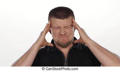 Man with big headache. White - Man with big headache against...