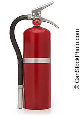 rojo, fuego, Extintor, blanco