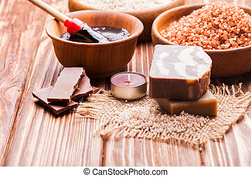 Chocolate spa set - Chocolate and coffee spa - sea salt,...