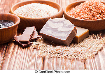 Chocolate spa set - Chocolate spa - sea salt, handmade soap...