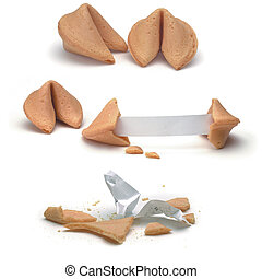 fortune cookie in various stages on white