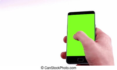 man hands using a smart phone for write text messaging with chroma key, green screen on white background, communication with smartphone technology concept