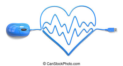 electrocardiogram - mouse and cables in form of heart on a...
