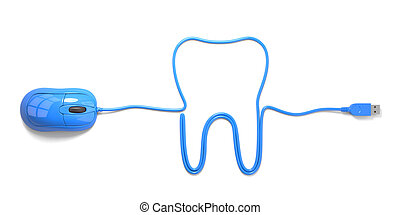 dental - mouse and cables in form of tooth on a white...
