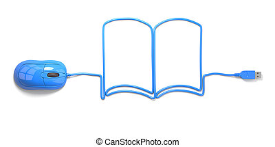 e-learning - mouse and cables in form of book on a white...