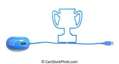 winners - mouse and cables in form of cup on a white...