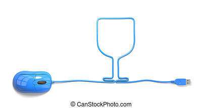 Goblet - mouse and cables in form of goblet on a white...