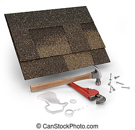 leak repair - roofing shingles, hammer & water