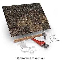 leak repair - roofing shingles, hammer & water