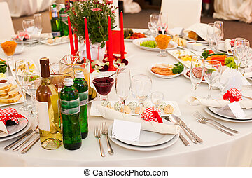 Wedding table decoration - Table set for a wedding reception...