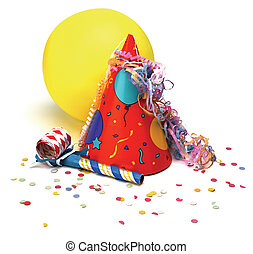 party hat, baloon, noisemaker, confetti on white