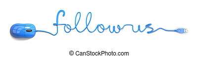 follow us - Blue mouse and cable in the shape of follow us