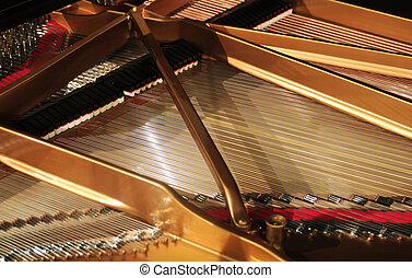 interior of grand piano - concert grand piano interior wide...