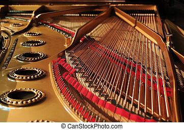 concierto, magnífico, piano, interior