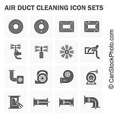 Duct clean icon - Air duct cleaning vector icon sets. (easy...