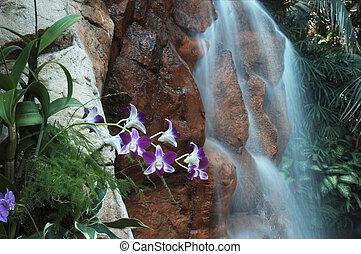 Cachoeira, flores, paisagem