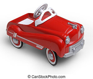 1950\'s era red toy car on white background...