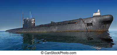 Russian submarine surfaced. Shot at water level against...