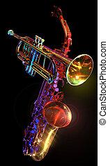 gelled, trompete, &, SAXAPHONE