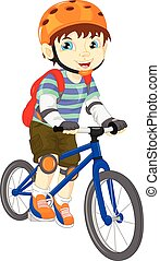 cute boy on a bicycle - vector illustration of cute boy on a...